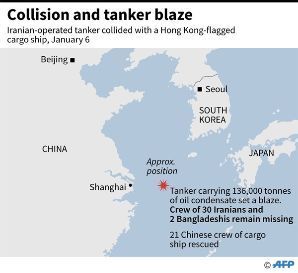 2 bodies recovered from burning oil tanker in China